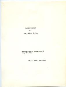 Student family histories: Cotton, Mary (Reams, Buckingham, Smith)