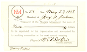 Niagara Movement Receipt No. 29