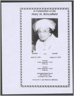 In celebration of life Mary M. Brincefield, sunrise, April 22, 1920, sunset, August 31, 2012, Springfield Baptist Church, 508 P Street, N. W., Washington, D. C. 20001, Reverend Dr. C. Que Hickerson, officiating