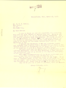Letter from Charles Young to W. E. B. Du Bois