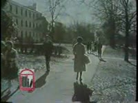 WSB-TV newsfilm clip of African American student Charlayne Hunter and other white students walking around campus and a white man speaking to reporters and handing out cards at the University of Georgia in Athens, Georgia, 1961 January 16