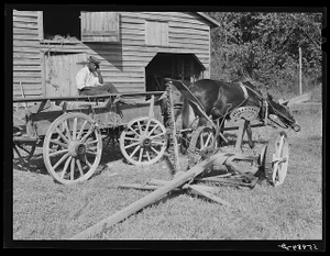 Negro helper with wagon in front of J.V. Harris' barn, nine miles south of Chapel Hill on Highway 15. Chatham County, North Carolina