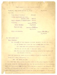 Circular letter from Niagara Movement treasurer