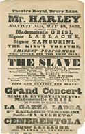 The Slave, Theatre Royal, Drury Lane, London [Playbill for performance May 4, 1835]; overall; recto