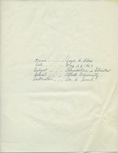 Student family histories: Black, Joyce (Beasley, Fielder, Watson)