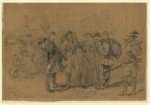 Soldiers of Gen Augurs Brigade waiting for the cars to take them to Uptons Hill, Va. their old camp