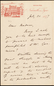 Letter from A. E. Adams, Newcastle-on-Tyne, [England], to Elizabeth Swan Mawson, July 20 1877