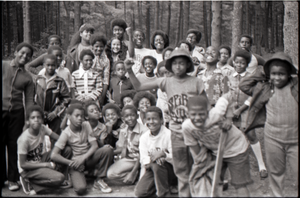 Inner City Round Table of Youth campers: group of African American children at summer camp