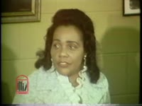 WSB-TV newsfilm clip of Coretta Scott King speaking about nonviolent social change at a meeting held at Fort Benning, Georgia, 1971 September 11