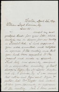 Letter from Robert Morris, Boston, [Mass.], to William Lloyd Garrison, April 26, 1879