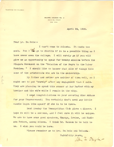 Letter from Mary White Ovington to W. E. B. Du Bois