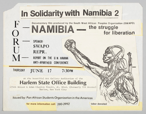 Flyer advertising a forum and film showing on Namibia