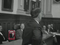 WSB-TV newsfilm clip of comments regarding integration of education in Georgia by Board of Regents member Roy V. Harris and House of Representatives members Frank Twitty and A'Delbert Bowen in Atlanta, Georgia, 1961 January