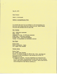Memorandum from Mark H. McCormack to Hans Kramer