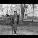 Polio victim on crutches