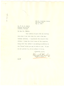 Letter from Langston Hughes to W. E. B. Du Bois