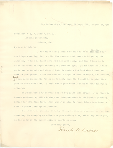 Letter from Frank G. Lewis to W. E. B. Du Bois