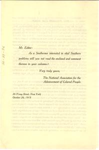 Leaflet on Jim Crow