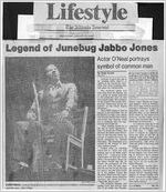 """""""Legend of Junebug Jabbo Jones,"""" by Paula Crouch. In The Atlanta Journal, January 16, 1985, page 1C, 10C"""