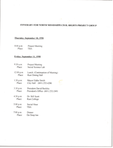 Itinerary for North Mississippi Civil Rights Project Group