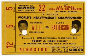 Muhammad Ali v. Floyd Patterson boxing ticket