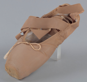 Toe shoe and tights worn by Emiko Flanagan of Dance Theatre of Harlem