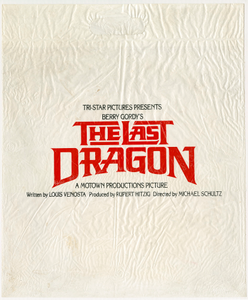 White plastic bag advertising the film The Last Dragon