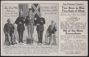 Col. J.A. Patee's New Co. of Old Soldier Fiddlers, season 1916-1917 Four Civil War veterans, two from the North, two from the South /