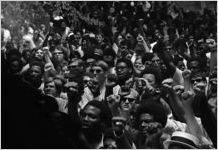 """Liberation Train"" protestors listening to Ralph Abernathy speak, Atlanta, Georgia, May 23, 1970"