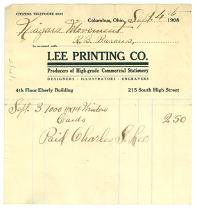 Invoice from Lee Printing Company