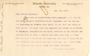 Letter from W. E. B. Du Bois to Lucinda Wooster