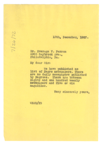 Letter from W. E. B. Du Bois to Everage B. Ferron
