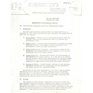 Memo from Superintendent Fahey to school administrators, October 10, 1975