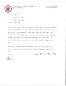 Letter from Bill Strickland to Gloria Xifaras Clark