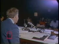 WSB-TV newsfilm clip of governor Jimmy Carter condemning Hosea Williams for creating racial unrest in Columbus, Georgia, 1971 June 21