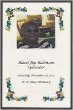 Hazel Joy Robinson Sylvester, Saturday, December 28, 2013, W. H. Mays Mortuary
