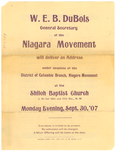 Programme of W. E. B. Du Bois Speech at Shiloh Baptist Church in Washington D.C