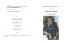 Memorial funeral liturgy for Joyce Angela Nelson, December 22, 2012