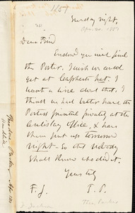 Letter from Theodore Parker to Francis Jackson, [1851] April 19