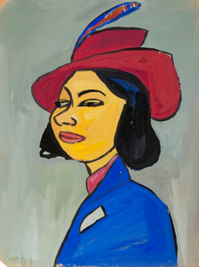 Woman in a Red Hat with Feather