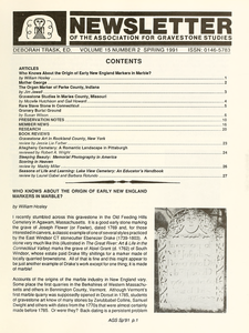 Newsletter of the Association for Gravestone Studies. Vol. 15, no. 2