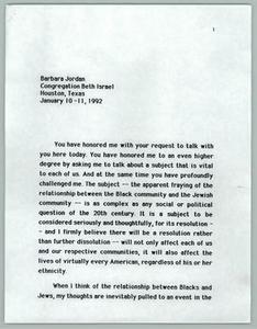 Barbara Jordan - Congregation Beth Israel Texas Senate Papers