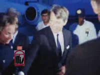 Series of WSB-TV newsfilm clips of Robert F. Kennedy, senator and presidential candidate, answering reporters' questions after arriving for Dr. Martin Luther King, Jr.'s funeral, Atlanta, Georgia, 1968 April 8