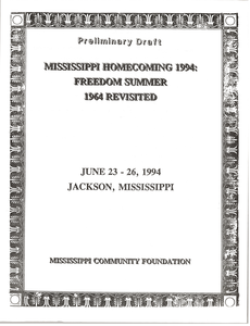 Mississippi Homecomeing: 1994 Program and Schedule: Preliminary Draft