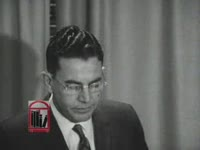 WSB-TV newsfilm clip of Georgia governor Ernest Vandiver pledging to preserve peace at the University of Georgia following a anti-integration riot, at a press conference held in Atlanta, Georgia, 1961 January 13