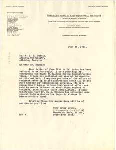 Letter from Tuskegee Normal and Industrial Institute Library to W. E. B. Du Bois