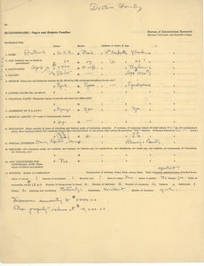 Negro and mulatto families questionnaire