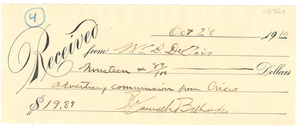 NAACP Receipt for Advertising Commission