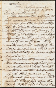 Letter from Samuel Joseph May, Syracuse, [N.Y.], to William Lloyd Garrison, Sept[tember] 6. 1860