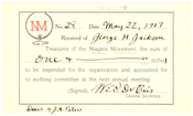 Niagara Movement Receipt No. 28